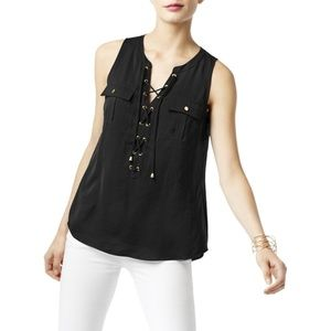 INC Womens Lace-Up Hi-Low Casual Top Blouse